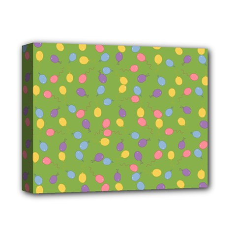Balloon Grass Party Green Purple Deluxe Canvas 14  X 11  by Nexatart