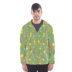 Balloon Grass Party Green Purple Hooded Wind Breaker (men)