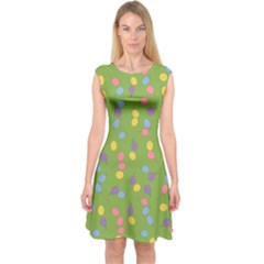 Balloon Grass Party Green Purple Capsleeve Midi Dress