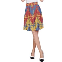 Aztec South American Pattern Zig Zag A Line Skirt
