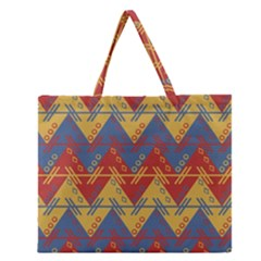Aztec South American Pattern Zig Zag Zipper Large Tote Bag by Nexatart