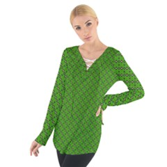 Paper Pattern Green Scrapbooking Women s Tie Up Tee