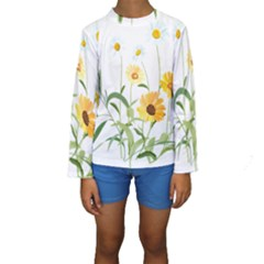 Flowers Flower Of The Field Kids  Long Sleeve Swimwear