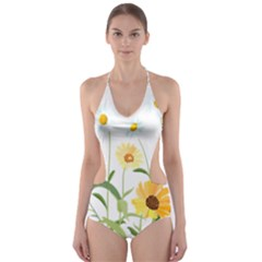 Flowers Flower Of The Field Cut Out One Piece Swimsuit