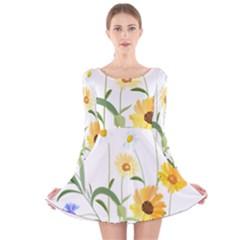Flowers Flower Of The Field Long Sleeve Velvet Skater Dress