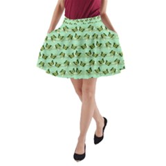 Green Butterflies A Line Pocket Skirt by linceazul