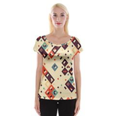 Squares In Retro Colors         Women s Cap Sleeve Top by LalyLauraFLM