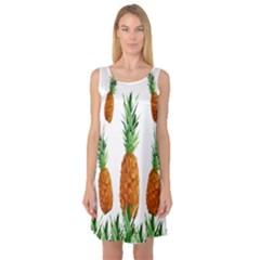 Pineapple Print Polygonal Pattern Sleeveless Satin Nightdress