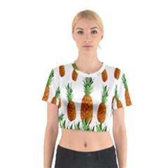 Pineapple Print Polygonal Pattern Cotton Crop Top