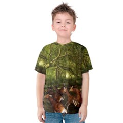 Red Deer Deer Roe Deer Antler Kids  Cotton Tee