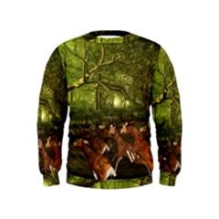 Red Deer Deer Roe Deer Antler Kids  Sweatshirt by Nexatart