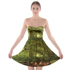 Red Deer Deer Roe Deer Antler Strapless Bra Top Dress