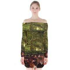 Red Deer Deer Roe Deer Antler Long Sleeve Off Shoulder Dress