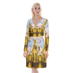 Church The Worship Quito Ecuador Long Sleeve Velvet Front Wrap Dress