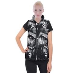 Gorilla Women s Button Up Puffer Vest by Valentinaart
