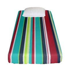 Colorful Striped Background  Fitted Sheet (single Size) by TastefulDesigns