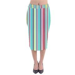 Colorful Striped Background  Velvet Midi Pencil Skirt by TastefulDesigns