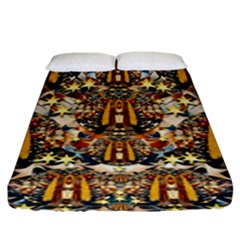 Lady Panda Goes Into The Starry Gothic Night Fitted Sheet (king Size) by pepitasart