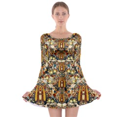 Lady Panda Goes Into The Starry Gothic Night Long Sleeve Skater Dress by pepitasart