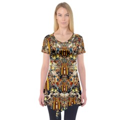 Lady Panda Goes Into The Starry Gothic Night Short Sleeve Tunic  by pepitasart