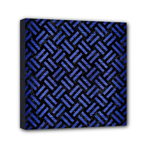 Woven2 Black Marble & Blue Brushed Metal Mini Canvas 6  X 6  (stretched) by trendistuff