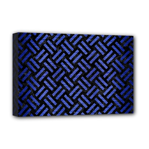 Woven2 Black Marble & Blue Brushed Metal Deluxe Canvas 18  X 12  (stretched) by trendistuff