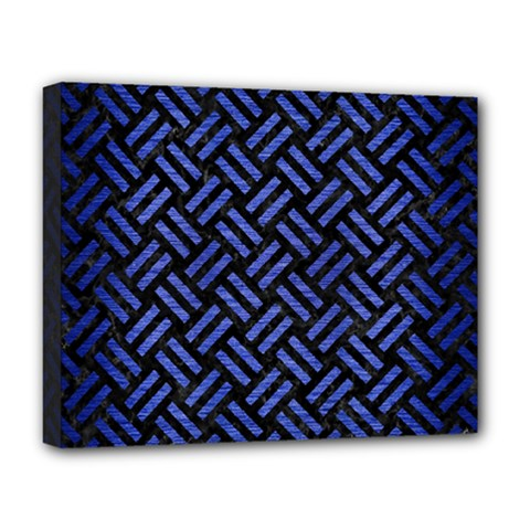 Woven2 Black Marble & Blue Brushed Metal Deluxe Canvas 20  X 16  (stretched) by trendistuff