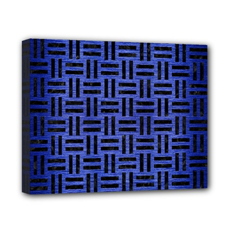 Woven1 Black Marble & Blue Brushed Metal (r) Canvas 10  X 8  (stretched) by trendistuff