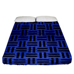 Woven1 Black Marble & Blue Brushed Metal (r) Fitted Sheet (queen Size)