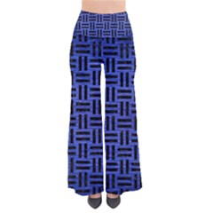 Woven1 Black Marble & Blue Brushed Metal (r) So Vintage Palazzo Pants by trendistuff