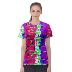 Colorful Glitch Pattern Design Women s Sport Mesh Tee by dflcprintsclothing