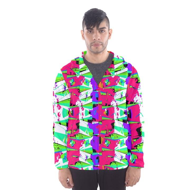 Colorful Glitch Pattern Design Hooded Wind Breaker (Men)