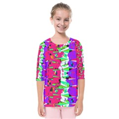 Colorful Glitch Pattern Design Kids  Quarter Sleeve Raglan Tee by dflcprintsclothing