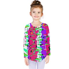 Colorful Glitch Pattern Design Kids  Long Sleeve Tee by dflcprintsclothing