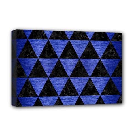 Triangle3 Black Marble & Blue Brushed Metal Deluxe Canvas 18  X 12  (stretched) by trendistuff