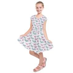 Cute Pastel Butterflies Kids  Short Sleeve Dress