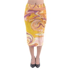 Yellow Marble Midi Pencil Skirt