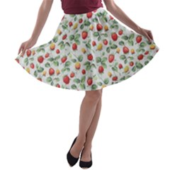 Strawberry Pattern A Line Skater Skirt
