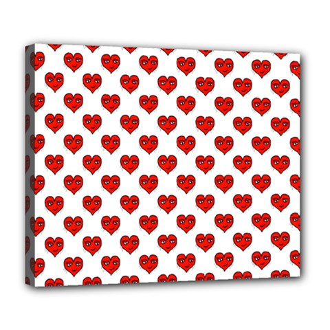 Emoji Heart Shape Drawing Pattern Deluxe Canvas 24  X 20   by dflcprints