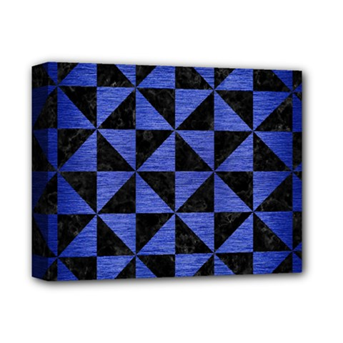Triangle1 Black Marble & Blue Brushed Metal Deluxe Canvas 14  X 11  (stretched) by trendistuff