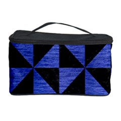 Triangle1 Black Marble & Blue Brushed Metal Cosmetic Storage Case by trendistuff