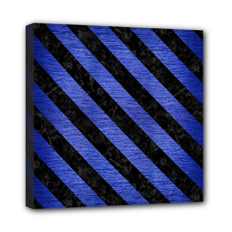 Stripes3 Black Marble & Blue Brushed Metal (r) Mini Canvas 8  X 8  (stretched) by trendistuff