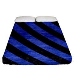Stripes3 Black Marble & Blue Brushed Metal (r) Fitted Sheet (queen Size) by trendistuff