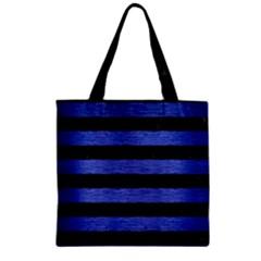 Stripes2 Black Marble & Blue Brushed Metal Zipper Grocery Tote Bag by trendistuff