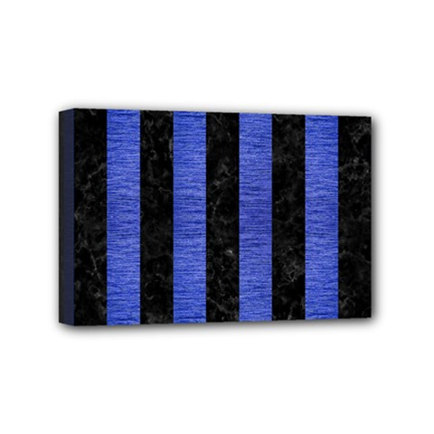 Stripes1 Black Marble & Blue Brushed Metal Mini Canvas 6  X 4  (stretched) by trendistuff