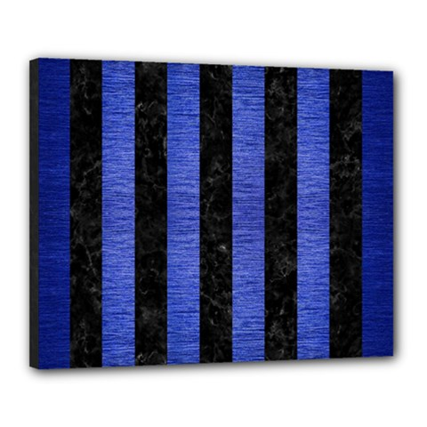 Stripes1 Black Marble & Blue Brushed Metal Canvas 20  X 16  (stretched) by trendistuff
