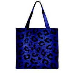 Skin5 Black Marble & Blue Brushed Metal Zipper Grocery Tote Bag by trendistuff