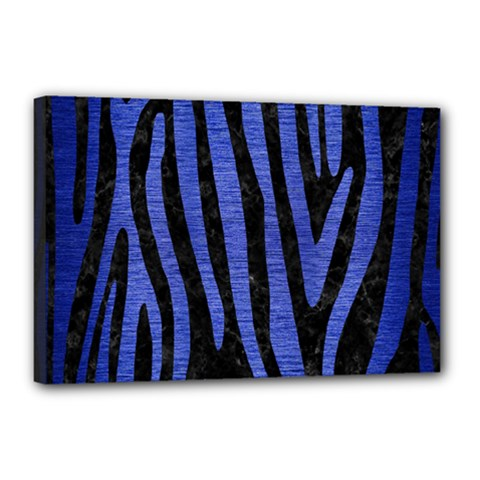 Skin4 Black Marble & Blue Brushed Metal (r) Canvas 18  X 12  (stretched) by trendistuff