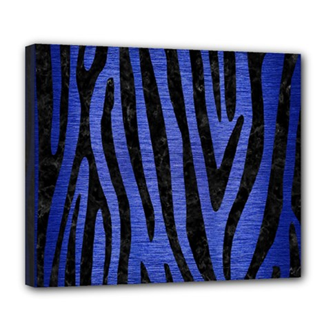 Skin4 Black Marble & Blue Brushed Metal Deluxe Canvas 24  X 20  (stretched) by trendistuff