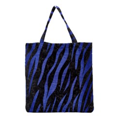 Skin3 Black Marble & Blue Brushed Metal Grocery Tote Bag by trendistuff